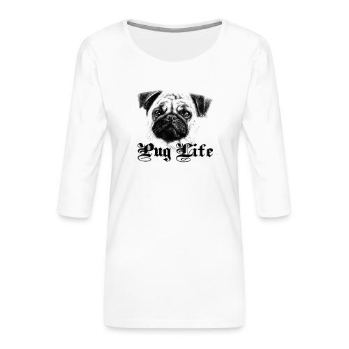 La vie de carlin - T-shirt Premium manches 3/4 Femme
