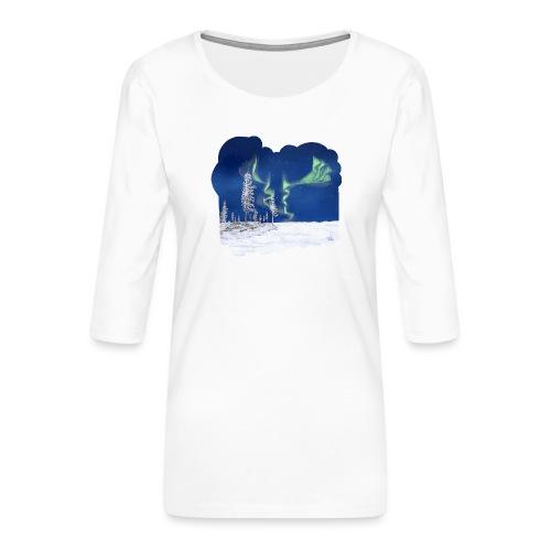 hiver avec des aurores boréales - T-shirt Premium manches 3/4 Femme