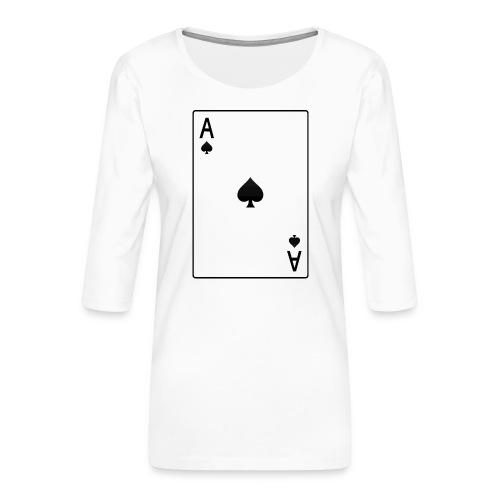 asso di picche - Maglietta da donna premium con manica a 3/4