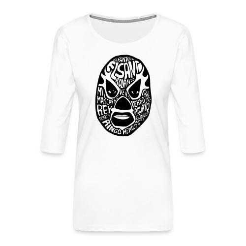 luchador mask2 - Vrouwen premium shirt 3/4-mouw