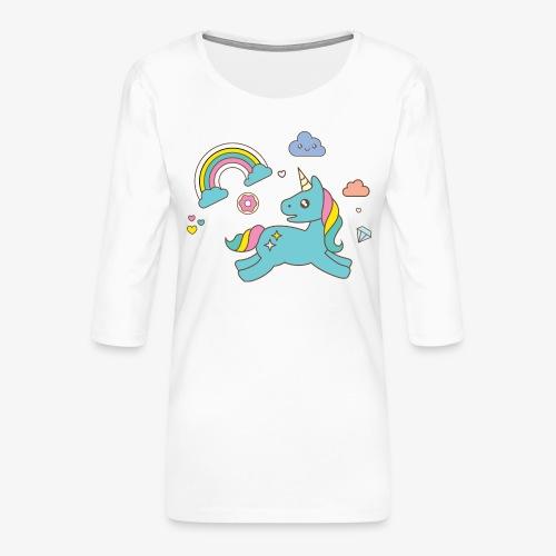 colored unicorn - Women's Premium 3/4-Sleeve T-Shirt