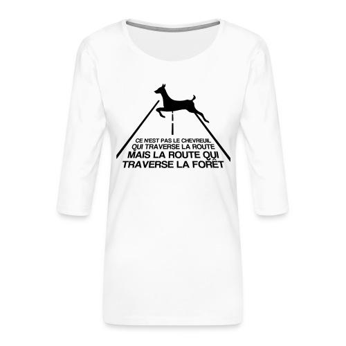 Chevreuil - T-shirt Premium manches 3/4 Femme