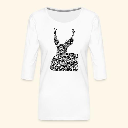 deer black and white - Naisten premium 3/4-hihainen paita