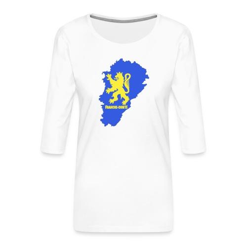 Carte Franche-Comté + lion - T-shirt Premium manches 3/4 Femme
