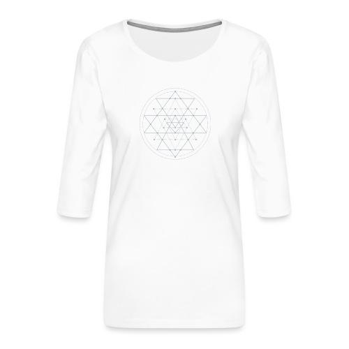 Harmaa geometrinen Shri Yantra -kuvio - Naisten premium 3/4-hihainen paita
