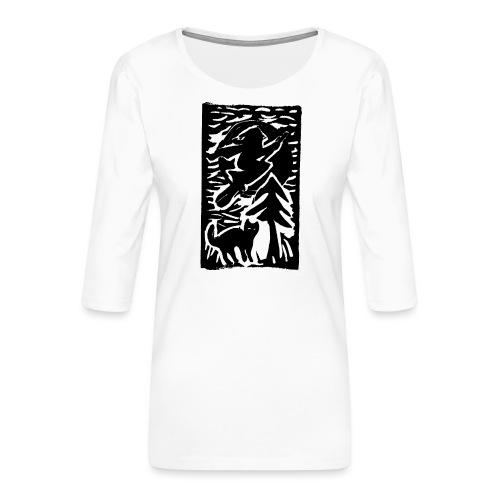 Hexe mit Katze - Frauen Premium 3/4-Arm Shirt