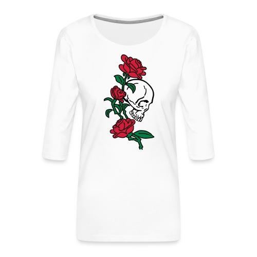 teschio e rose es123_2 - Maglietta da donna premium con manica a 3/4