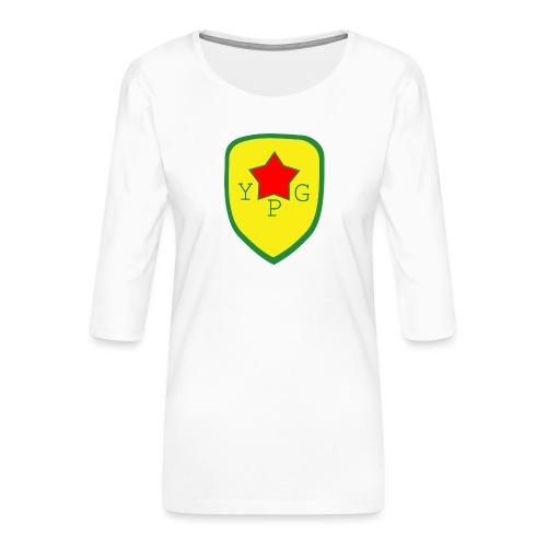 Unisex Red YPG Support Hoodie - Naisten premium 3/4-hihainen paita