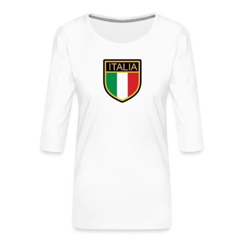 SCUDETTO ITALIA CALCIO - Maglietta da donna premium con manica a 3/4