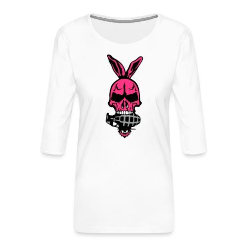 tete mort oreille lapin skull grenade 1 - T-shirt Premium manches 3/4 Femme
