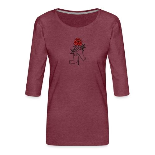 Fiore rosso - Maglietta da donna premium con manica a 3/4