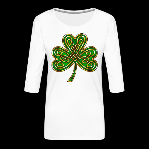 Celtic Knotwork Shamrock - Women's Premium 3/4-Sleeve T-Shirt