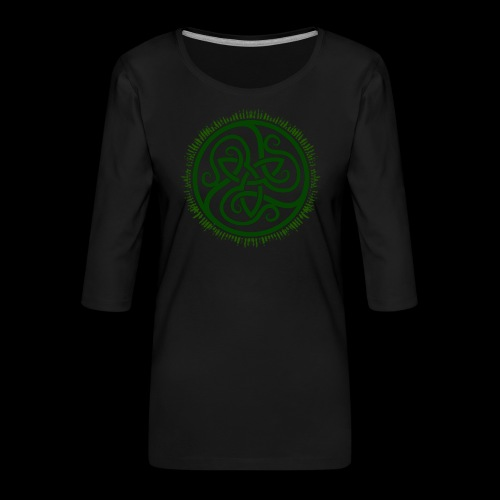 Green Celtic Triknot - Women's Premium 3/4-Sleeve T-Shirt