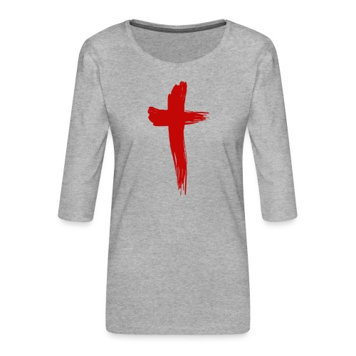 Kreuz rot - Frauen Premium 3/4-Arm Shirt