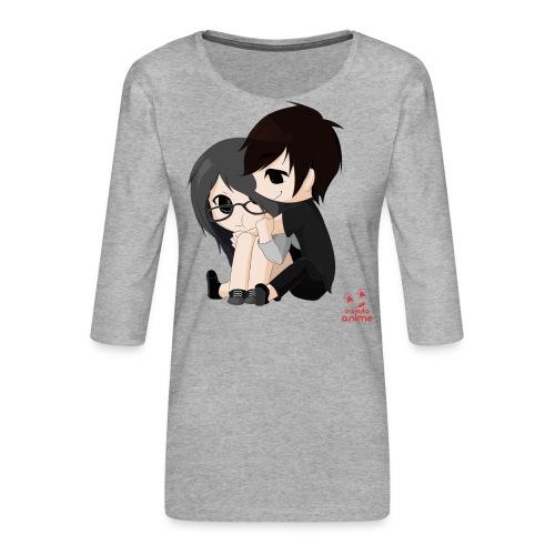 otaku anime pareja chibi kawaii - Camiseta premium de manga 3/4 para mujer
