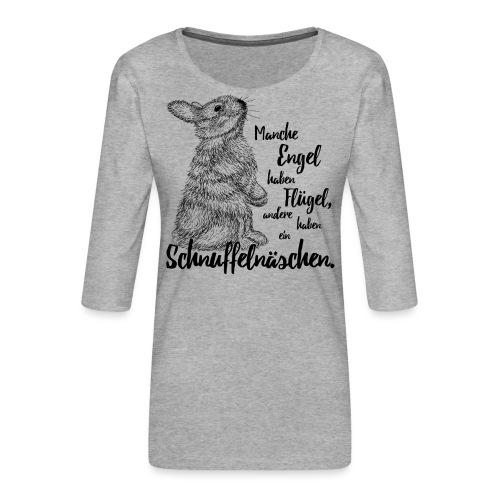 Kaninchen Hasen Zwergkaninchen Engel Liebe - Frauen Premium 3/4-Arm Shirt