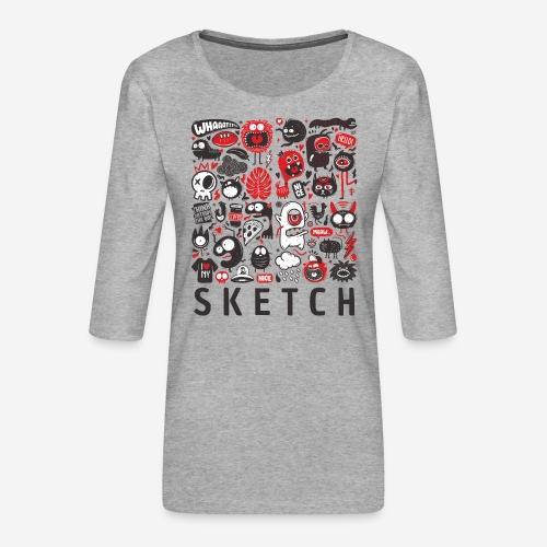 animals sketch design monsters - Frauen Premium 3/4-Arm Shirt