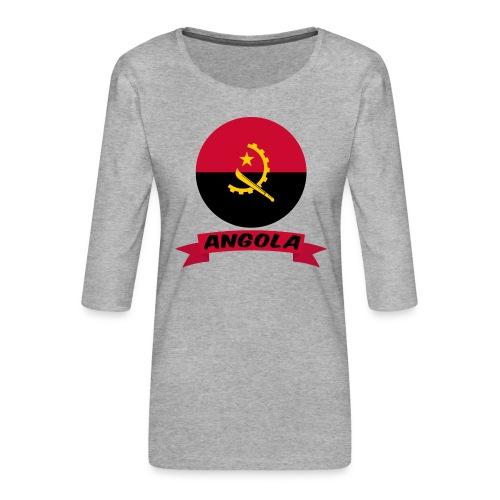 flag of Angola t shirt design ribbon banner - Maglietta da donna premium con manica a 3/4