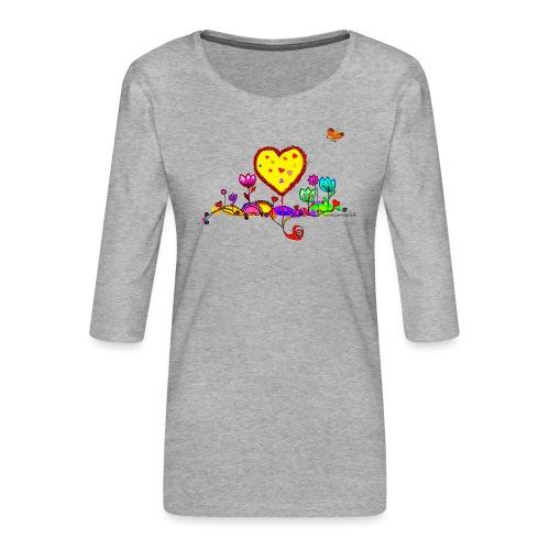 Blumengruß mit Herz - Frauen Premium 3/4-Arm Shirt