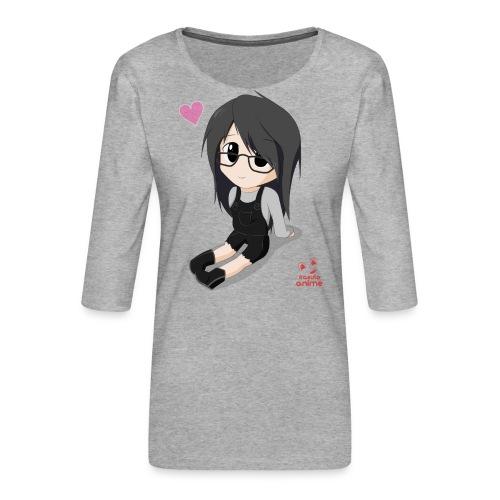 chibi anime chica shoujo - Camiseta premium de manga 3/4 para mujer