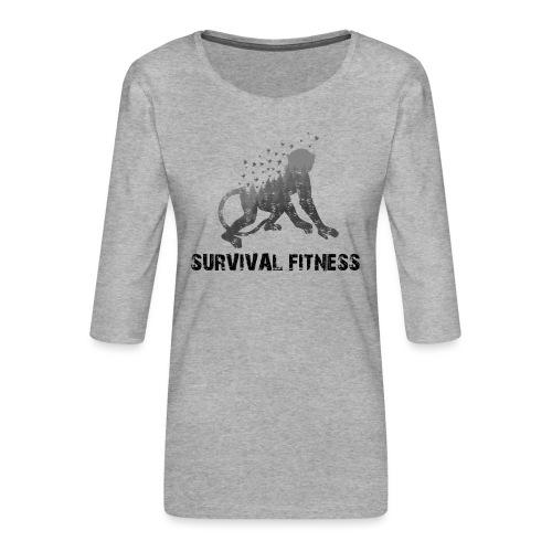 Survival Fitness Logo Schwarz - Frauen Premium 3/4-Arm Shirt