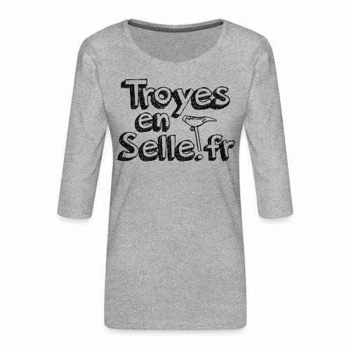 logo Troyes en Selle noir - T-shirt Premium manches 3/4 Femme