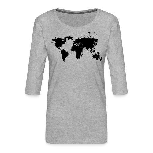 Weltkarte Splash - Frauen Premium 3/4-Arm Shirt