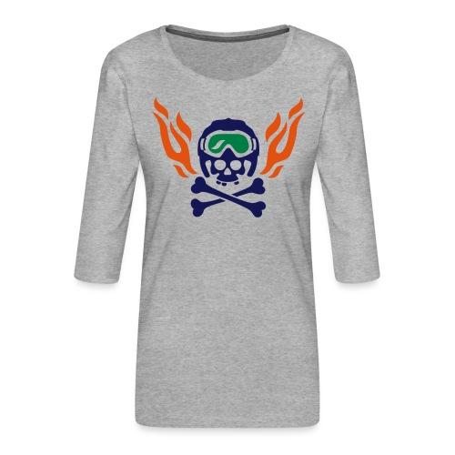 Totenkopf mit Skihelm, Skibrille und Flammen - Frauen Premium 3/4-Arm Shirt