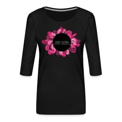 Naisten huppari punaisella logolla - Naisten premium 3/4-hihainen paita