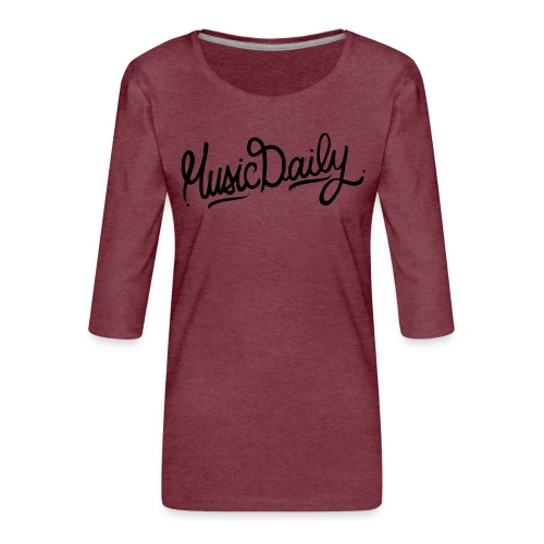 MusicDaily Logo - Vrouwen premium shirt 3/4-mouw