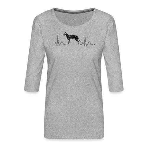 ECG met hond - Vrouwen premium shirt 3/4-mouw