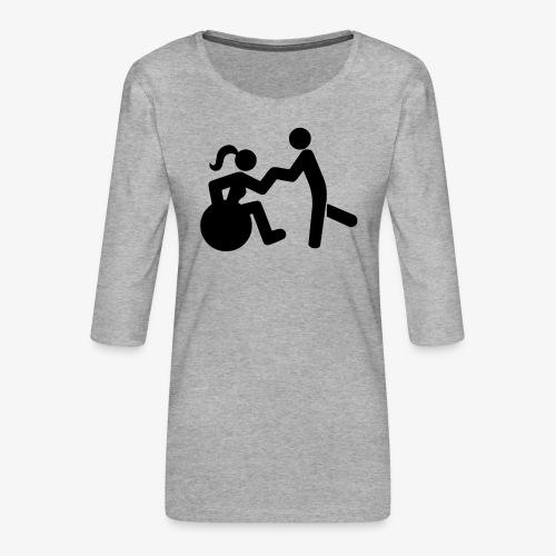 Afbeelding van vrouw in rolstoel die danst met man - Vrouwen premium shirt 3/4-mouw