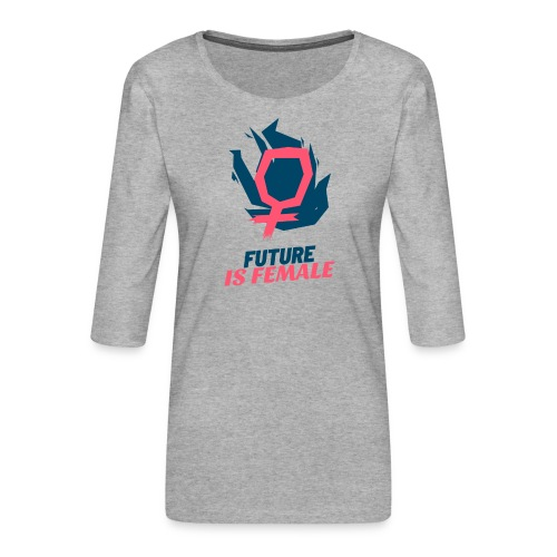 feminist t shirt design template with a bold style - Camiseta premium de manga 3/4 para mujer