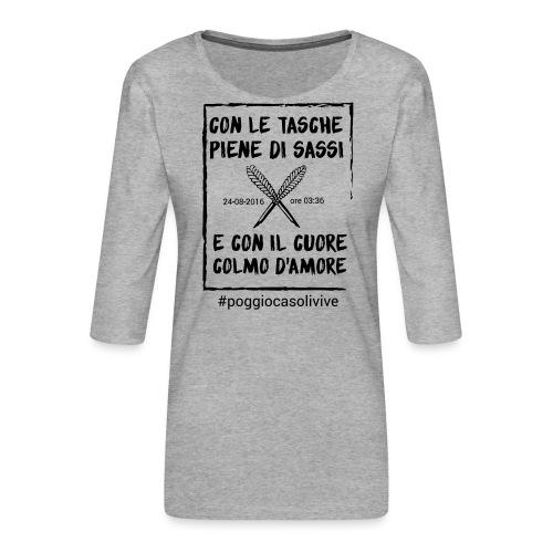 patch cuoresassi - Maglietta da donna premium con manica a 3/4
