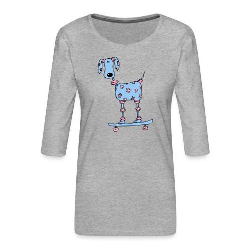 afbeelding skatehondokok - Vrouwen premium shirt 3/4-mouw