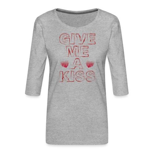 kiss - Maglietta da donna premium con manica a 3/4