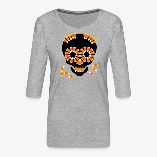 Skull Candy Corn HallOWeen by patjila - Women's Premium 3/4-Sleeve T-Shirt