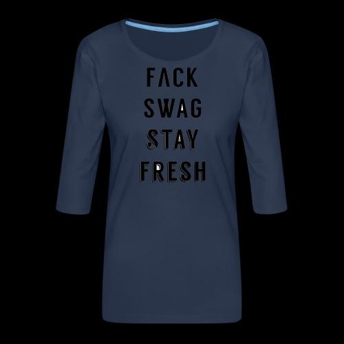 Fack Swag Tee - Camiseta premium de manga 3/4 para mujer