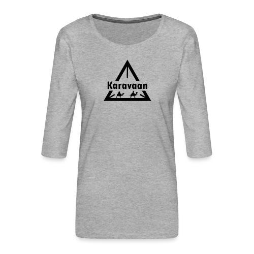 Karavaan Black (High Res) - Vrouwen premium shirt 3/4-mouw