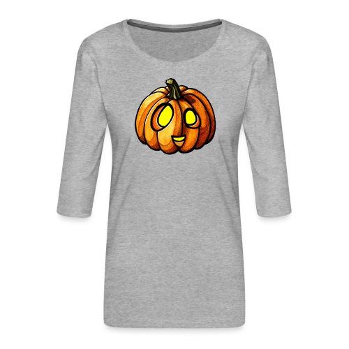 Pumpkin Halloween watercolor scribblesirii - Women's Premium 3/4-Sleeve T-Shirt