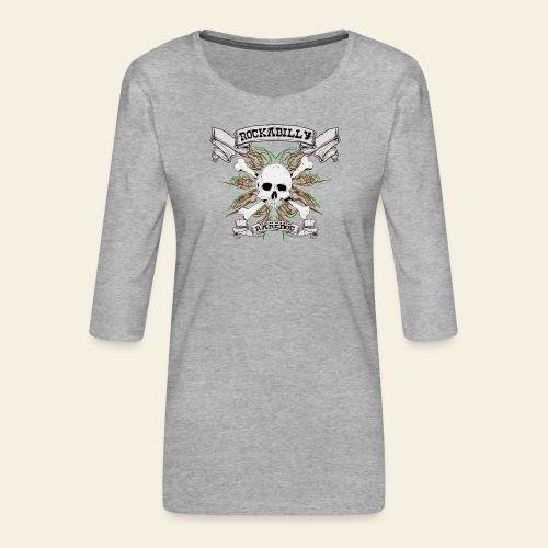 Rockabilly Raredog Skull - Dame Premium shirt med 3/4-ærmer