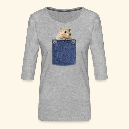 hamster in the poket - Maglietta da donna premium con manica a 3/4