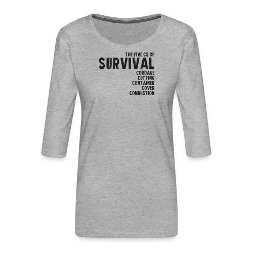 5Cs of Survival List - Premium-T-shirt med 3/4-ärm dam