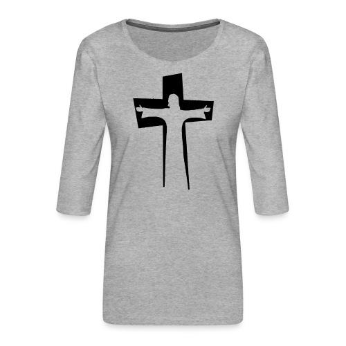 Abstrakt Jesus på korset - Premium-T-shirt med 3/4-ärm dam