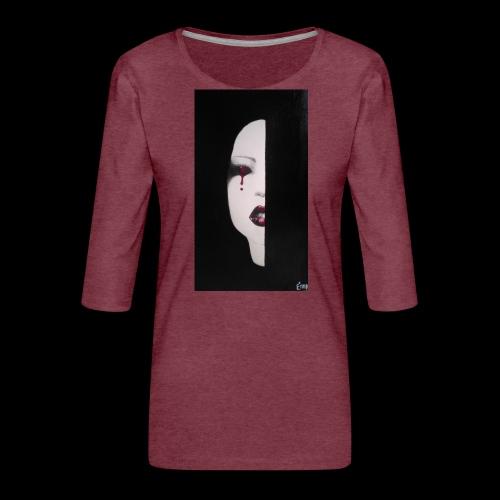 BlackWhitewoman - Maglietta da donna premium con manica a 3/4