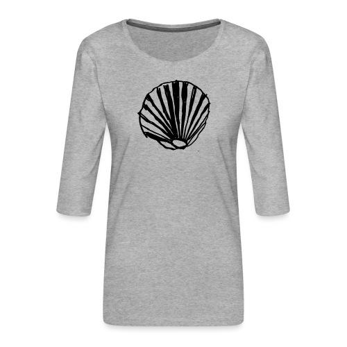 Concha - Camiseta premium de manga 3/4 para mujer