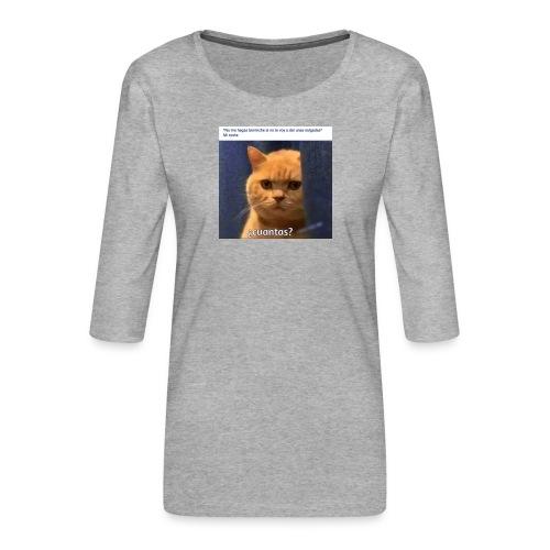 Cat nalgadas - Camiseta premium de manga 3/4 para mujer