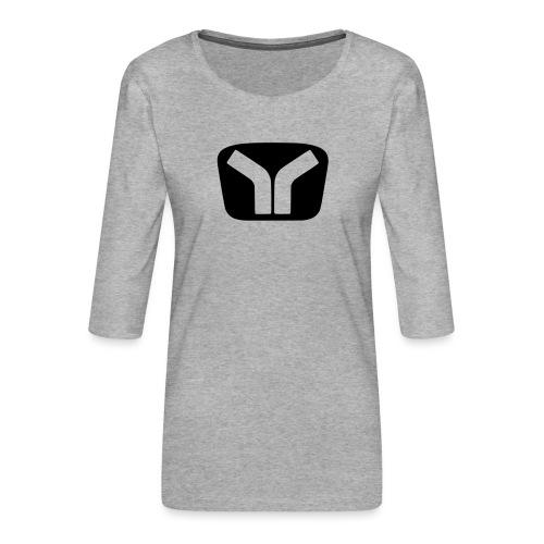 Yugo Logo Black-Transparent Design - Women's Premium 3/4-Sleeve T-Shirt