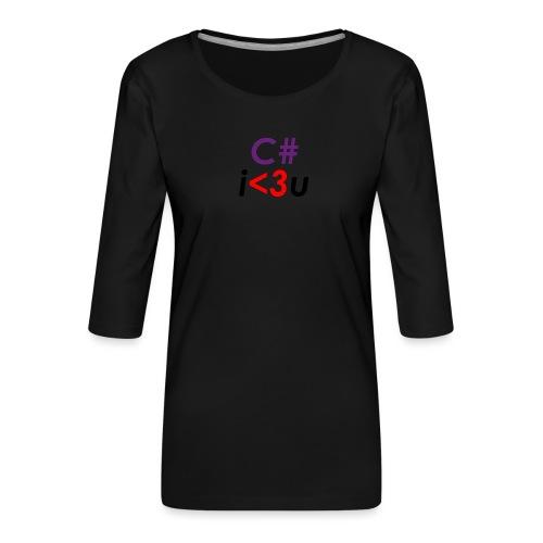 C# is love - Maglietta da donna premium con manica a 3/4