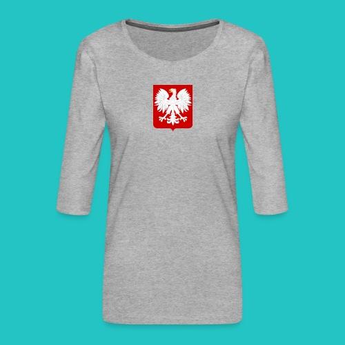 Koszulka z godłem Polski - Koszulka damska Premium z rękawem 3/4